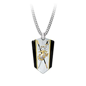 Stainless Steel with 24k Gold and Black Ion-plated Usmc Semper Fi Reversible Dog Tag Shield Pendant Necklace By the Bradford Exchange