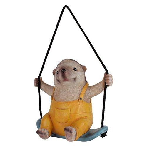 Wonderland Hedgehog on Swing hanging decor for home or garden