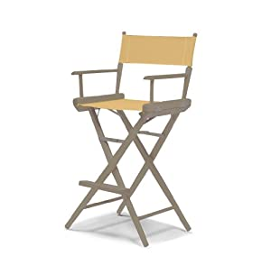 Telescope Casual World Famous Bar Height Director Chair, Rustic Grey with Curry Canvas Fabric