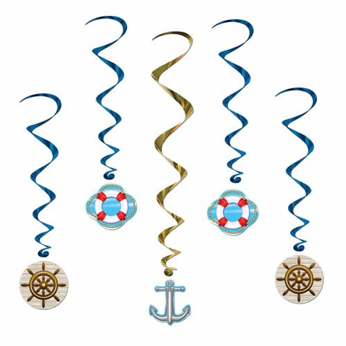 Beistle 57578 5-Pack Cruise Ship Whirls, 3-Feet 4-Inch