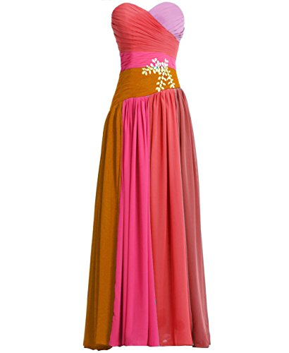 Fashion Plaza Chiffon Strapless Bridesmaid Evening Prom Party Dress D0192 (Us4, Red Rosa)