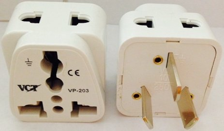 Vct Vct Vp-203W Ce And Rohs Compliant Universal 2-Outlet Grounded Plug Adapter For Australia, New Zealand, China