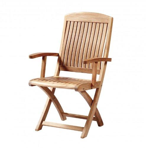 """Eleganter Teak Klappstuhl mit Armlehnen aus der Premium-Serie """"Brighton"""" gefertigt aus Teakholz mit Armlehne/ perfekte ergonomische Rücken- und Sitzfläche/ Gartenmöbel/ Sessel/ Stuhl/ Gartenstuhl/ Gartenklappstuhl/ Premium- Qualität jetzt kaufen"""