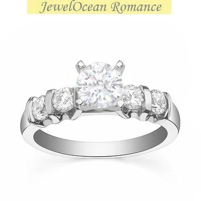 0.58 Carat Discount Diamond Engagement Ring with Round cut Diamond on 14K White gold