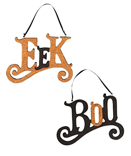 [BETHANY LOWE EEK and Boo Hanging Signs (Set/2)] (Wood Boo Sign)