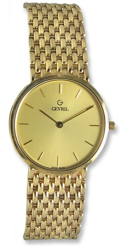 Gevril GV2 14k Solid Gold Mens ULTRA THIN Watch - G1550G