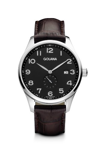 Golana Classic Small Second Men's Quartz Watch with Grey Dial Analogue Display and Brown Leather Strap CL100-2