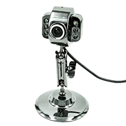 HDE USB Webcam with LED Lights - Metal Finish