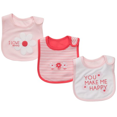 Carter's Baby Girls' 3-Pack Teething Bibs - Light Pink/Poppy - One Size - 1