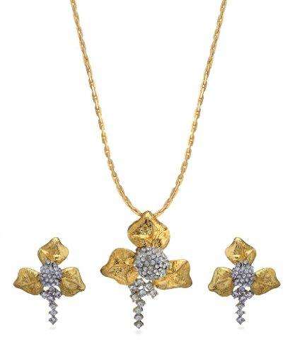 Eclat Rhodium Brass Alloy Pendant Set For Women(611018TT)