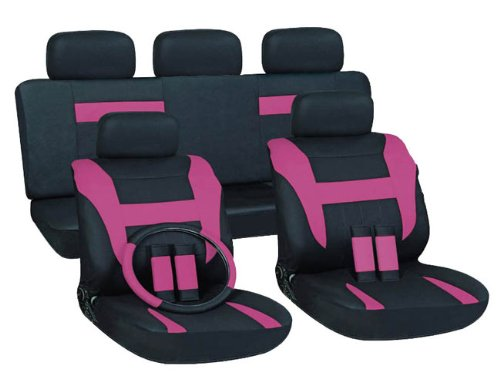 Oxgord 17Pc Set Flat Cloth Mesh / Pink & Black Auto Seat Covers Set - Airbag Compatible - Front Low Back Buckets - 50/50 Or 60/40 Rear Split Bench - 5 Head Rests - Universal Fit For Car, Truck, Suv, Or Van - Free Steering Wheel Cover