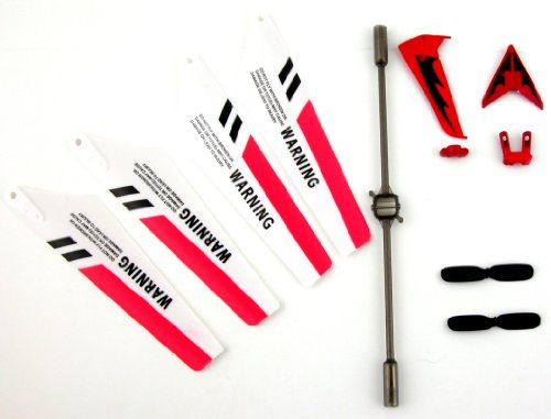Full Set Replacement Parts for Syma S107 RC Helicopter, Main Blades, Tail Decorations, Tail Props, Balance Bar, Red Set Picture