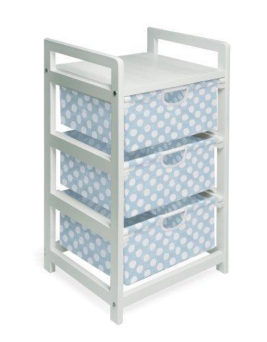 Three Drawer Hamper/Storage Unit White/Blue Polka Dot by Badger Basket (3 Drawer Hamper Storage Unit compare prices)