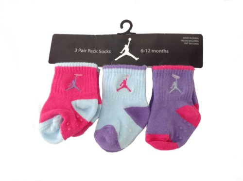 Michael Jordan Non-Slip Booties New Born Baby Boy 6-12 Months 3 Pair; Plus a Free Gift Cellphone Anti-dust Plug