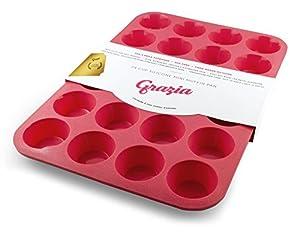 Grazia Silicone Muffin Pan, Red
