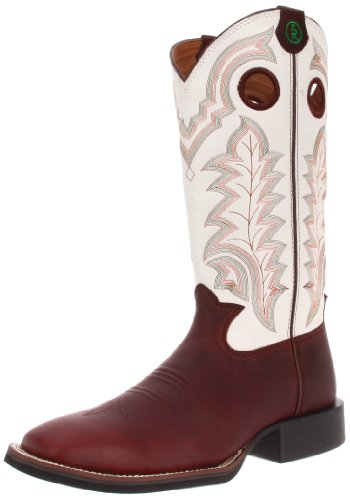 Tony Lama Boots Men's RR4007 Boot,Redwood Oiltan/White Baron Calf,8.5 EE US