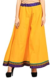 Vastraa Fusion Women Yellow Cotton Sharara