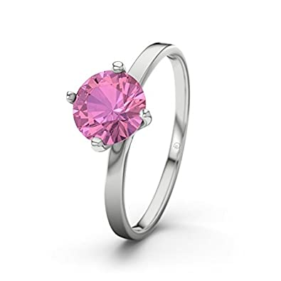 21DIAMONDS Women's Ring Tegan 21D Pink Tourmaline Brilliant Cut Engagement Ring - Silver Engagement Ring