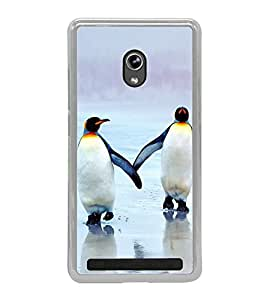 Penguins on Beach 2D Hard Polycarbonate Designer Back Case Cover for Asus Zenfone 5 A501CG :: Asus Zenfone 5 Intel Atom Z2520 :: Asus Zenfone 5 Intel Atom Z2560