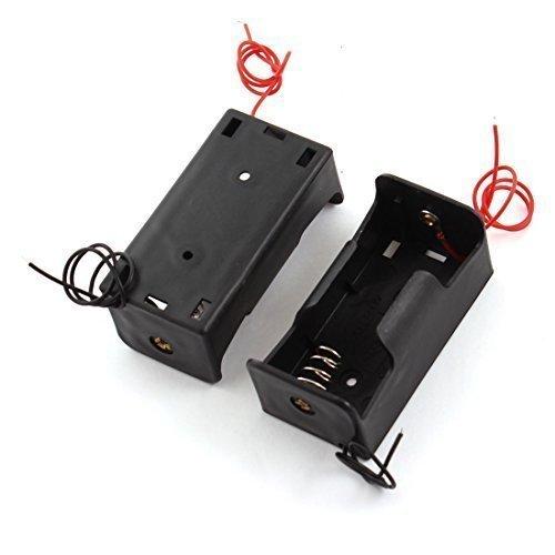2 pièces Plastique Noir 2-câblé 1 x 1.5V D Taille Compartiment Pour Piles Stockage Case