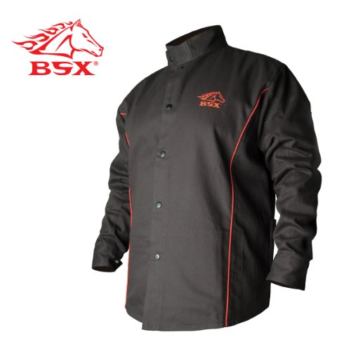 Revco-BSX-B9C-9oz-BlackRed-Cotton-Welding-Jacket-Flame-Resistant-L
