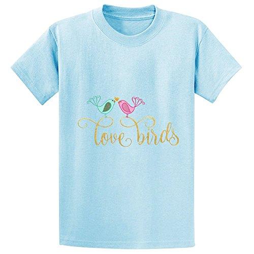 Love Birds Boys' Crew Neck Graphic Shirts L-blue (Biker Lil Friend compare prices)