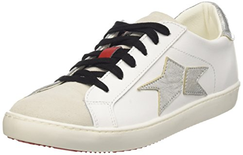 Fake By Chiodo Low 003 Scarpe Low-Top, Unisex adulto, Argento (Vitello Bianco-Velour White/Foil Scrub Argento), 37