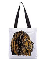 Snoogg Sketch Of A Big Male African Lion Vector Illustration Designer Poly Canvas Tote Bag - B012FZD4FK