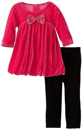 Good Lad Baby-Girls Infant 2 Piece Velour Legging Set, Hot Pink, 12