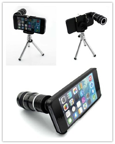 Big Dragonfly Apple Iphone 5 5G Camera Lens Kit Includes / 12 X Telephoto Manual Focus Telescope Camera Lens / 1 Mini Tripod / 1 Flexible Universial Holder / 1 Special Protection Case For Iphone 5 / 1 Cleaning Cloth / 1 Black Pouch Included