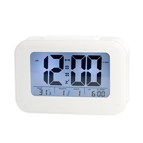 LOFTEK® Smart Light-activated Sensor Alarm Clock with Date,Weekdays and Temperature Display, Repeating Snooze, and Touch-activated Nightlight,White (Battery Operated)