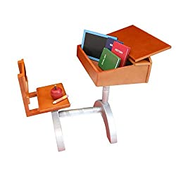 1930 Style School Wood Desk & 6pc School Accessories For 18