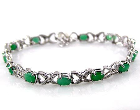 Sterling Silver Jewelry Collection : 6.25ctw Genuine Emerald Ovals & .925 Sterling Silver Bracelet