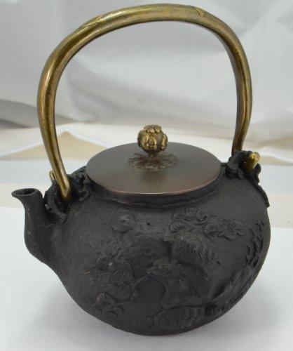 Cast Iron Tea Pot (Teapot) / Tea Kettle (Teakettle) - Turtle & Crane I, Black