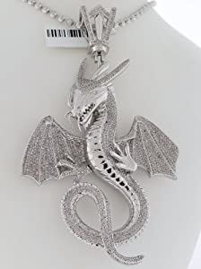14k White Gold / Designer Dragon Charm Pendant / 4.50cttw Diamonds / 50 Grams / SDP-1268WA