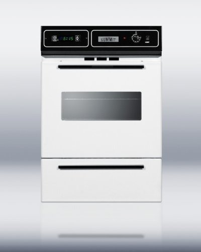 Summit : WTM7212KW 24 Single Gas Wall Oven, Electronic Ignition, Clock, Timer - White