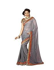 Aastha Sarees Women's Grey Jacquard Embelished Sari