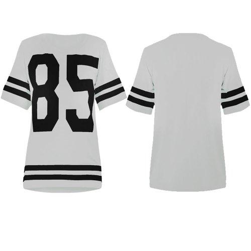 Womens Oversize 85 Baseball Top Baggy American Football T-Shirt Jersey White M/L