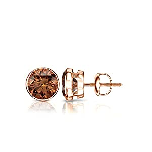 14k Rose Gold Round Brown Diamond Bezel-set Stud Earrings (3/4 ct, Brown, SI2-I1)