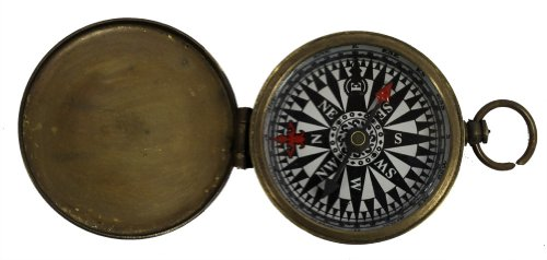 Antique Bronze Finish Hiking Pocket Compass with Cover