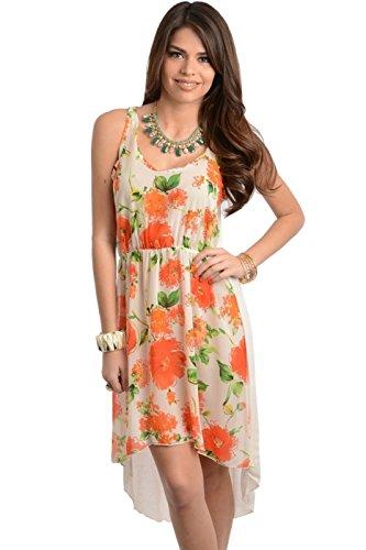 Floral Chiffon High Low Tank Dress