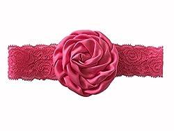 Bellazaara BELLAZAARA Christening Baby Lace Rose Pink Flower Headband Head Band (Red)