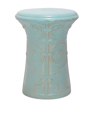 Safavieh Imperial Scroll Garden Stool, Light Aqua