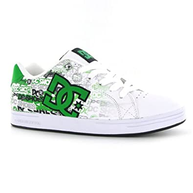 dc shoes character white green leather youth trainers size