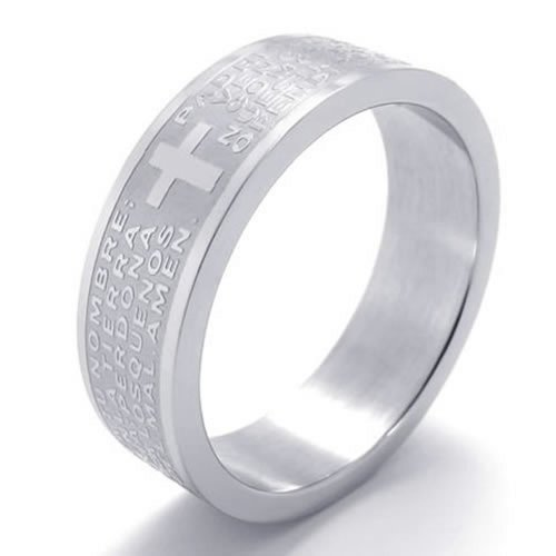 Men - Size 8 - Konov Jewelry Men'S Women'S Stainless Steel Lord Prayer Cross Promise Ring Couples Wedding Bands