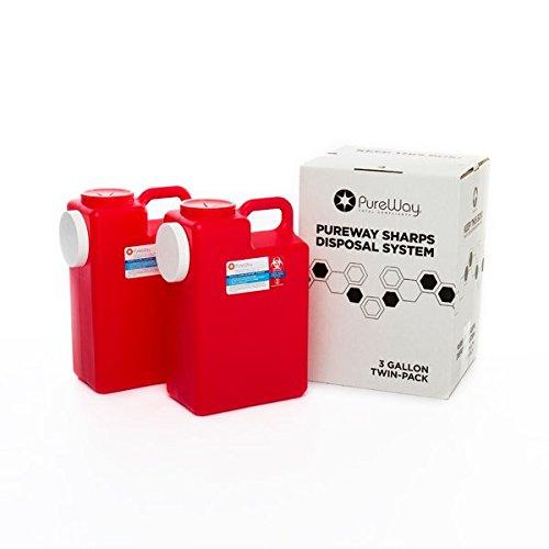 PureWay 3 Gallon 2-Pack PureWay Sharps Disposal System (Biohazard Container Mail compare prices)