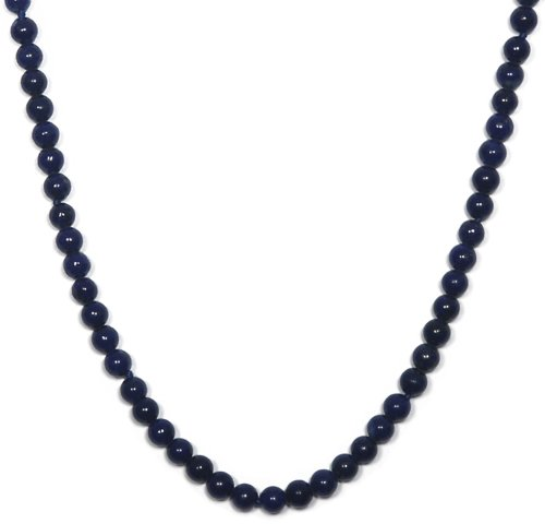 Sterling Silver 4mm Lapis Bead Necklace, 36