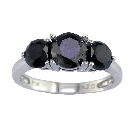3 CT 3 Stone Black Diamond Ring 9K White Gold In Size O (Available In Sizes J - T)