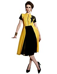 Shonaya Yellow & Black Colour Hand Work Georgette Stitched Kurti