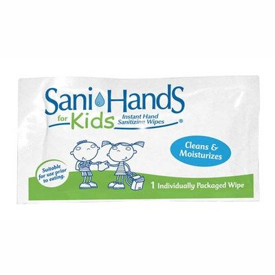 Unimed Individual Gel Sani-Hands Kids Wipe Packets, Off White
